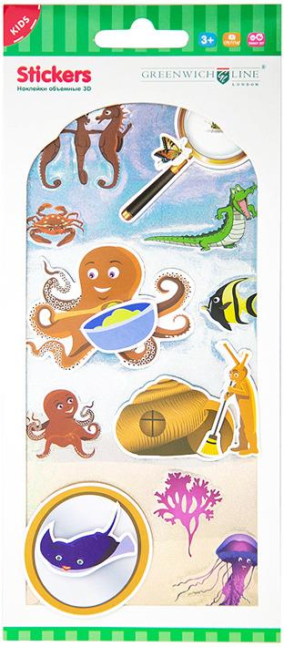 Набор наклеек Greenwich Line Подводный мир, объемные, NSOL_11873, 5 шт стоимость