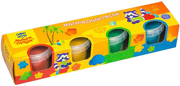 Песок для игры детский Мульти-Пульти Приключения Енота, с формочкой, ПН_15812, 4 цвета, 560 г