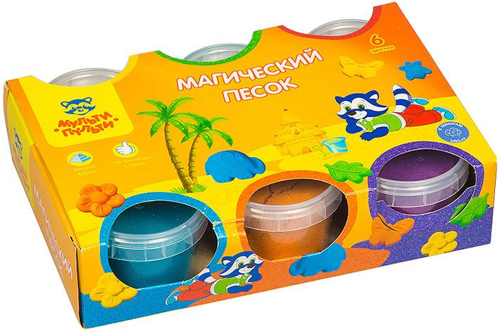 Фото - Песок для игры детский Мульти-Пульти Приключения Енота, с 2 формочками, ПН_15815, 6 цветов, 840 г песок для игры детский мульти пульти приключения енота с формочкой пн 15811 4 цвета 560 г