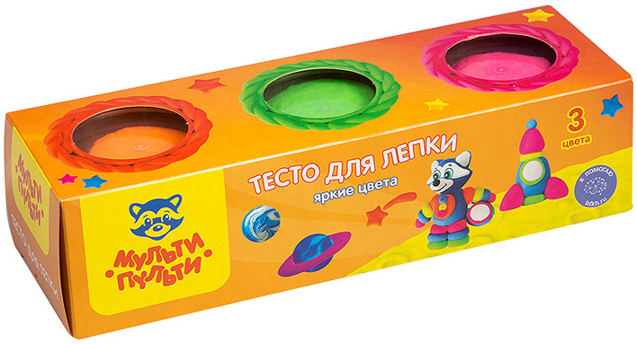 Тесто для лепки Мульти-Пульти Енот на Луне, ТЛ_16734, 3 цвета, 90 г цена и фото