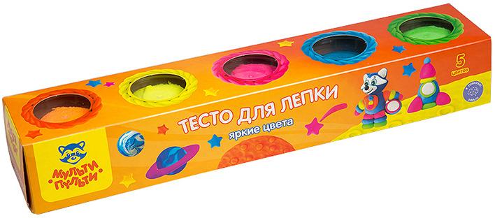 Тесто для лепки Мульти-Пульти Енот на Луне, ТЛ_16735, 5 цветов, 90 г мульти пульти мел енот в горах цвет белый 4 шт