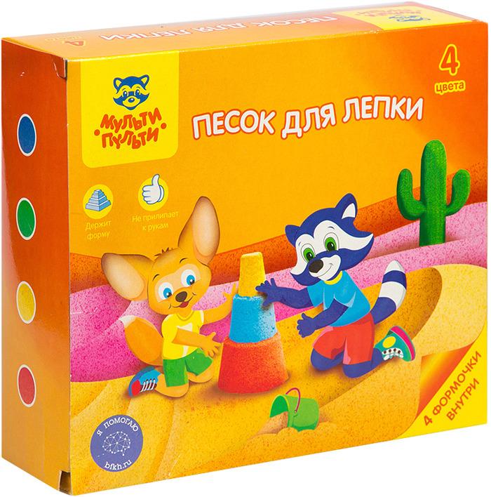 Песок для игры детский Мульти-Пульти Енот в пустыне, с 4 формочками, ПН_16958, 4 цвета, 480 г