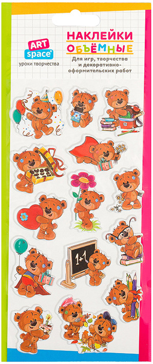 Набор объемных наклеек Спейс Плюшевый мишка, 261097, 5 шт