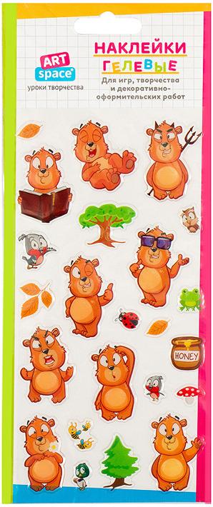 Набор гелевых наклеек Спейс Медвежонок, 261113, 5 шт набор гелевых наклеек спейс сердечки 261116 5 шт
