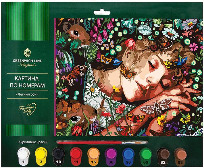 Картина по номерам Greenwich Line Летний сон, с акриловыми красками, KT_14817, формат А3