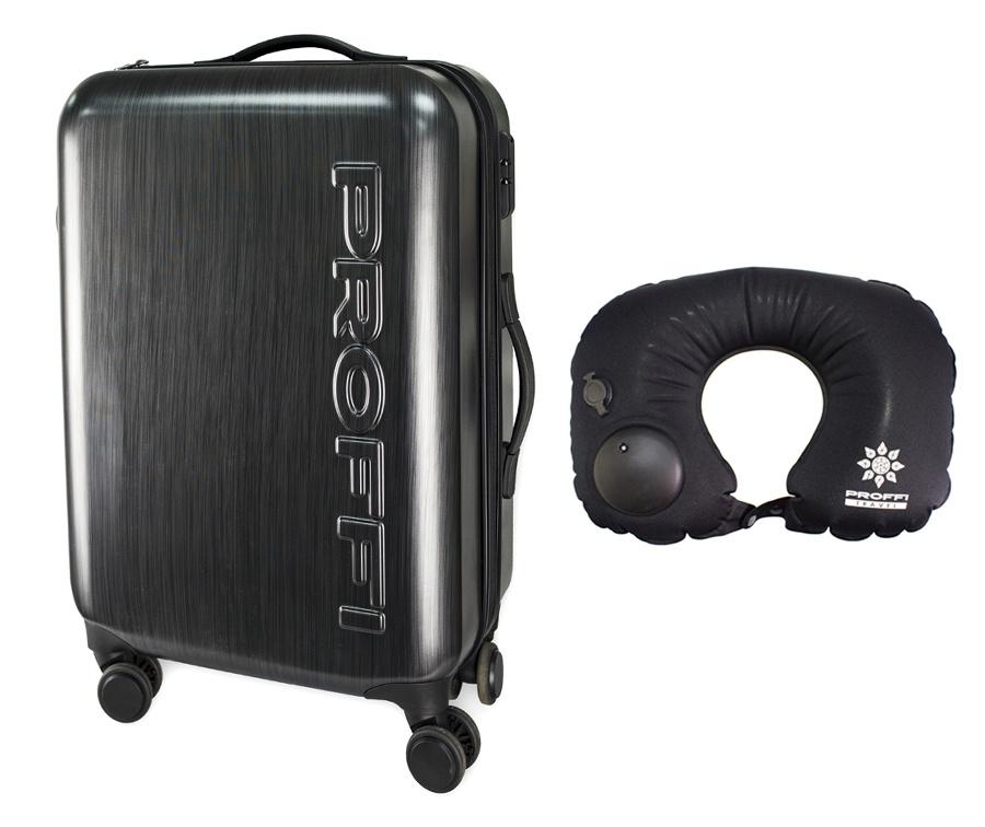 """Чемодан PROFFI TRAVEL с встроенными весами, L, большой, пластиковый + подушка для путешествий с встроенным насосом, черныйPH10365В набор входит: чемодан PROFFI пластиковый """"NEWTON"""" средний, 63*23*44 и Подушка для путешествий PROFFI TRAVEL, полиэстер, черный.Чемодан Proffi серого цвета на колесах. Компактный, но достаточно вместительный чемодан, который идеально подходит как для деловых поездок, так и для путешествий. А подушка для путешествий Proffi подарит вам комфорт в любой поездке. Идеальный набор для дальних поездок.Выполнен данный чемодан из пластика, отличается высокой стойкостью к механическим воздействиям. Внутри чемодана 2 отделения: оба на замке - молнии по периметру, а во втором вещи дополнительно фиксируются при помощи перекрестных прижимных ремней. Закрывается чемодан на молнию и кодовый замок. Для удобства транспортировки имеется 4 независимых колеса, прочная выдвижная и обычная ручки сверху, а также боковая ручка.Гарантия на данную модель чемодана - 3 года! Обслуживание осуществляется в сервисных центрах, указанных на официальном сайте производителя.Подушку под шею для путешествий используют для создания комфортных условий для расслабления мышц шеи и сна в самолетах, поездах, электричках, автомобилях, залах ожидания, автобусах и т.д.Данная модель надувная и очень практичная, т.к. не занимает много места в багаже. Встроенный насос позволяет легко надуть подушку менее, чем за 1 минуту. Удобная застёжка зафиксирует подушку вокруг шеи в максимально удобном положении.Форма данной модели - воротник и это одна из самых востребованных моделей. Препятствует запрокидыванию головы и чрезме..."""