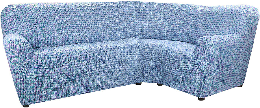 Чехол на классический угловой диван Еврочехол Сиена Сатурно, 34/198-8, синий, ширина 530 см