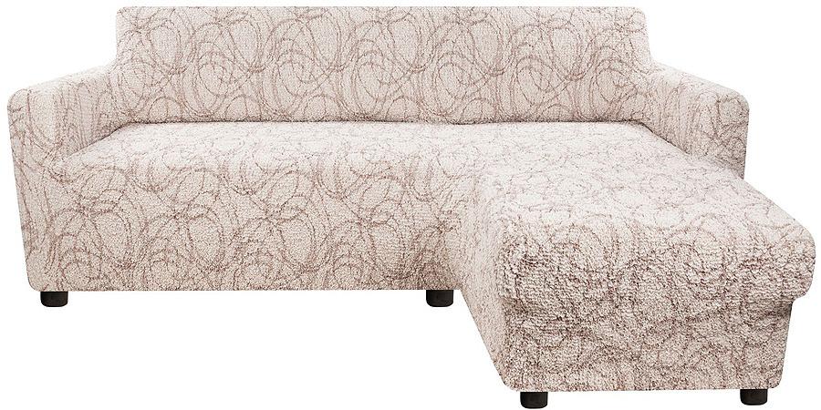 Чехол на угловой диван с выступом справа Еврочехол Виста Беата, 6/218-10, светло-бежевый, ширина 450 см цена