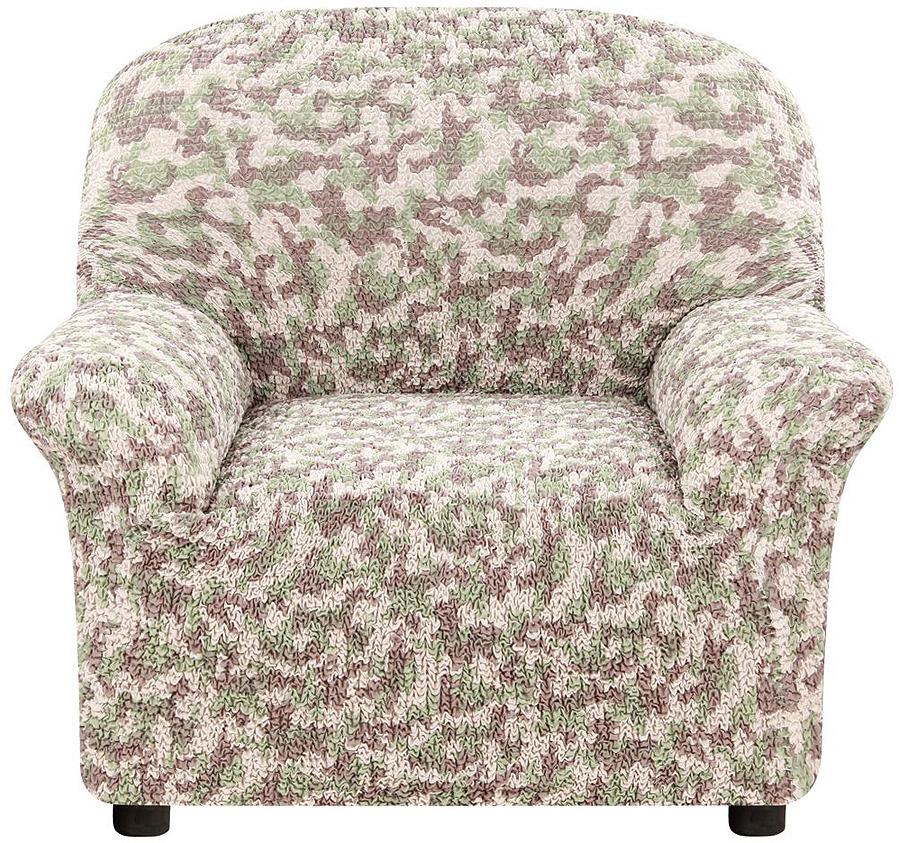 Чехол на кресло Еврочехол Виста Милитари, 6/226-1, коричневый, зеленый, бежевый, ширина 100 см