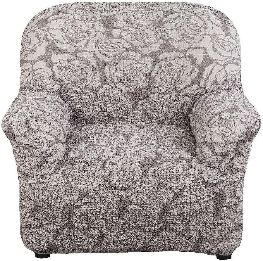 Чехол на кресло Еврочехол Виста, цвет: светло-серый, кофейный, 60-100 см