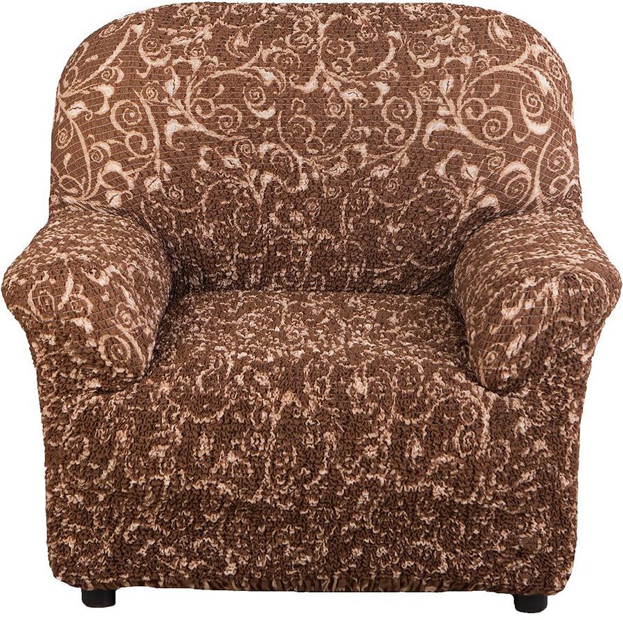 Чехол на кресло Еврочехол Виста Инка, 6/119-1, коричневый, ширина 100 см