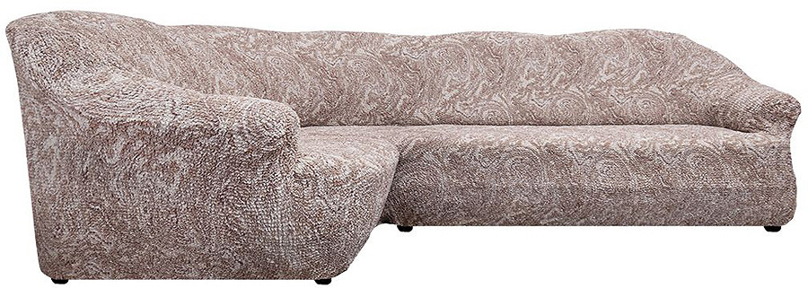 Чехол на классический угловой диван Еврочехол Виста Буше, 6/131-8, темно-бежевый, ширина 550 см цена
