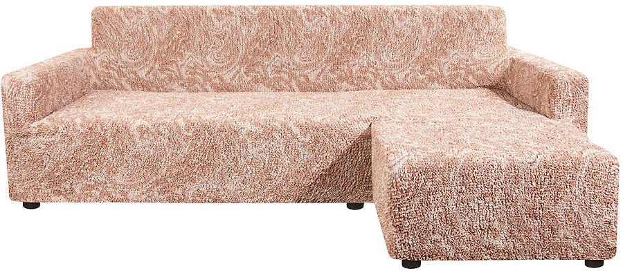 Чехол на угловой диван с выступом справа Еврочехол Виста Буше, 6/131-10, темно-бежевый, ширина 450 см цена