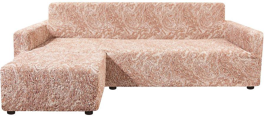 Чехол на угловой диван с выступом слева Еврочехол Виста Буше, 6/131-9, темно-бежевый, ширина 450 см цена