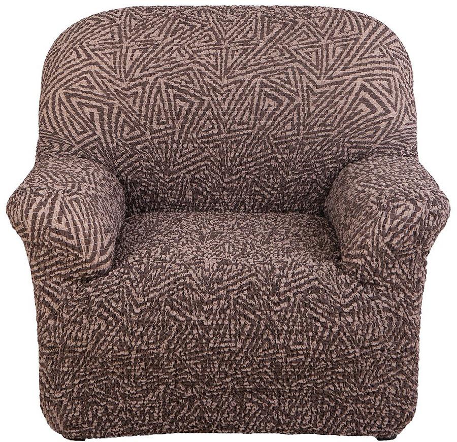Чехол на кресло Еврочехол Виста Меандр, 6/148-1, коричневый, ширина 100 см