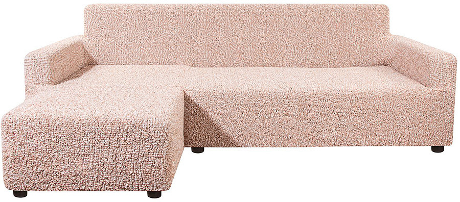 Чехол на угловой диван с выступом слева Еврочехол Виста Меандр, 6/147-9, бежевый, ширина 450 см цена