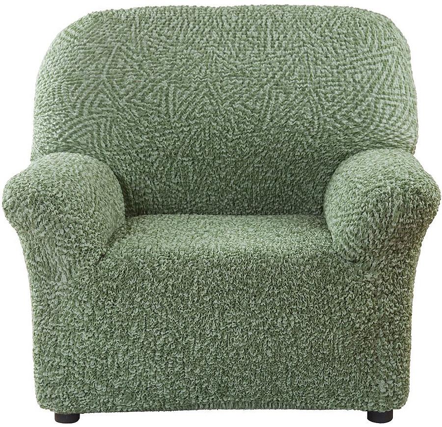 Чехол на кресло Еврочехол Виста Меандр, 6/164-1, зеленый, ширина 100 см