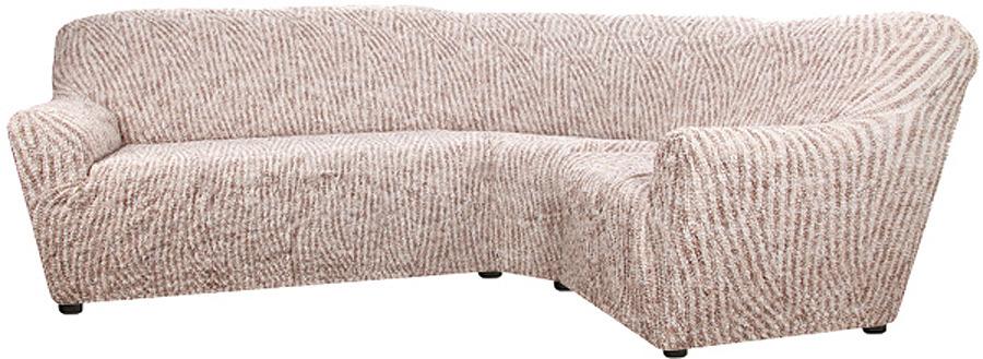 Чехол на классический угловой диван Еврочехол Виста Милано, 6/181-8, бежевый, ширина 550 см цена