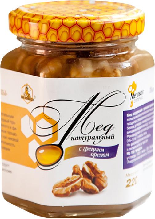 Мед натуральный Медовица, с грецким орехом, 220 гр для потенции грецкий орех мед