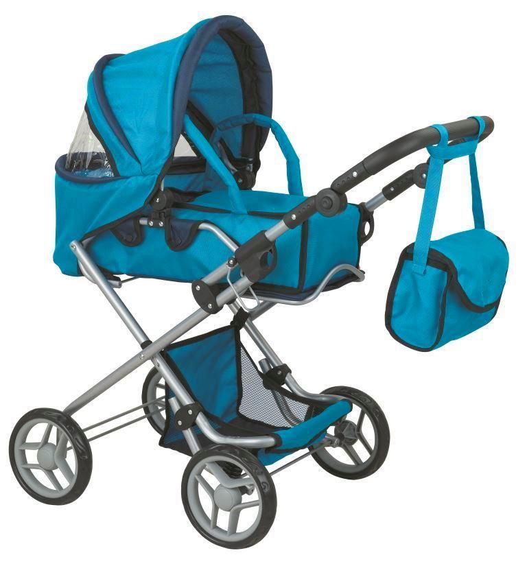 коляска для кукол Buggy Boom Коляска-трансформер для кукол 2-в-1 8456B Infinia (Инфиниа) синий рессора 150200250