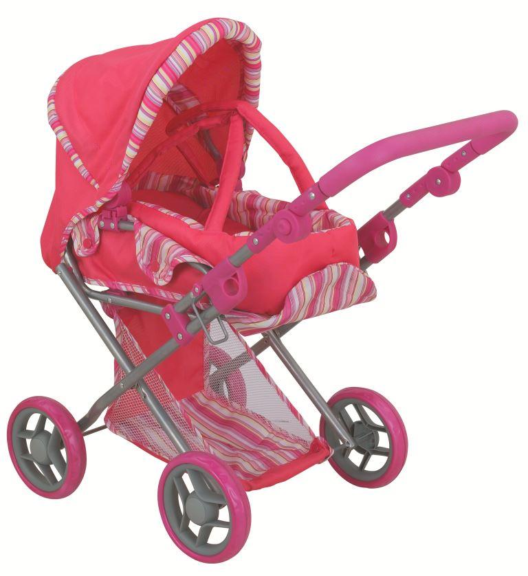 коляска для кукол Buggy Boom Коляска-трансформер для кукол, классическая 2-в-1 8450A Infinia (Инфиниа) темно-розовый, светло-розовый