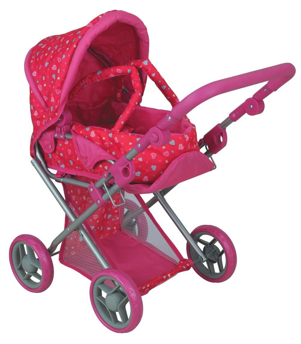 коляска для кукол Buggy Boom Коляска-трансформер для кукол, классическая 2-в-1 8450C Infinia (Инфиниа) темно-розовый