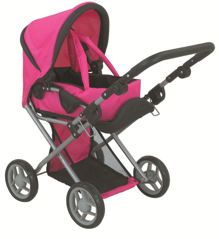 коляска для кукол Buggy Boom Коляска-трансформер для кукол, классическая 2-в-1 8450F Infinia (Инфиниа) темно-розовый