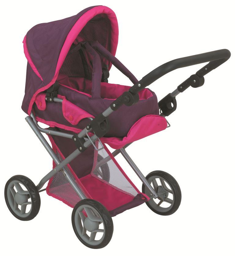коляска для кукол Buggy Boom Коляска-трансформер для кукол, классическая 2-в-1 8450F Infinia (Инфиниа) фиолетовый, розовый
