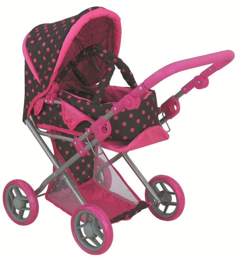 коляска для кукол Buggy Boom Коляска-трансформер для кукол, классическая 2-в-1 8450H Infinia (Инфиниа) розовый, черный