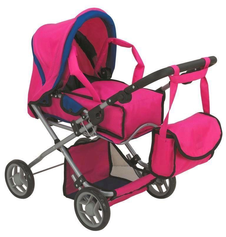 коляска для кукол Buggy Boom Коляска-трансформер для кукол 2-в-1 8454B Infinia (Инфиниа) темно-розовый рессора 150200250