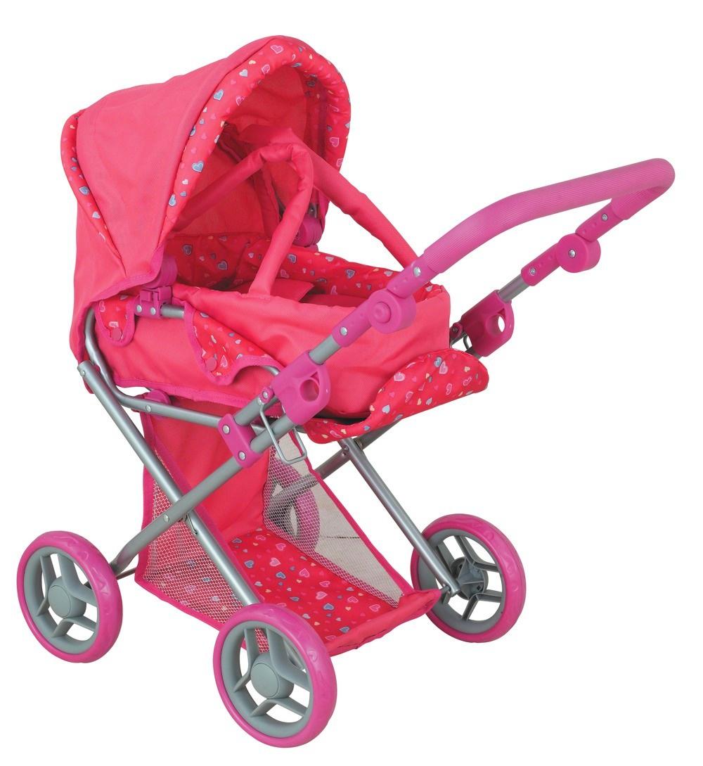 коляска для кукол Buggy Boom Коляска-трансформер для кукол, классическая 2-в-1 8450A Infinia (Инфиниа) розовый, темно-розовый