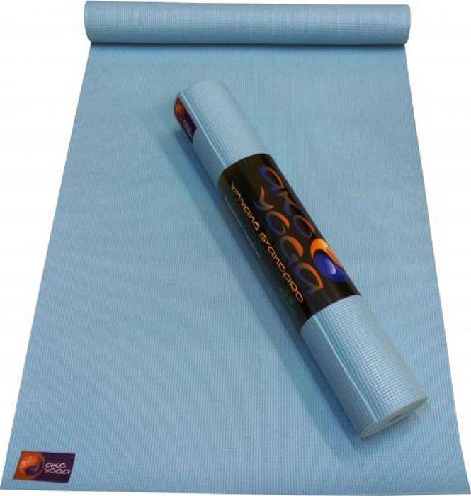 Коврик для йоги и фитнеса Ako Yoga Асана Стандарт, голубой, 185 х 60 х 0,4 см цена