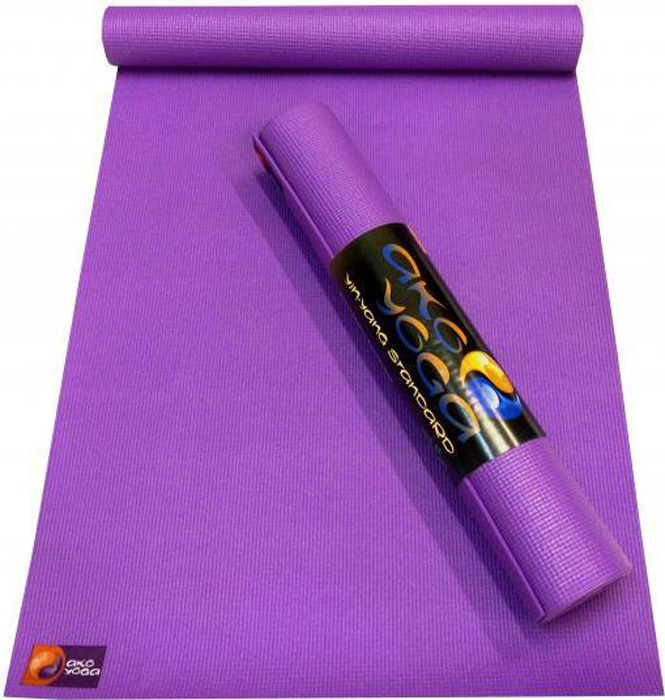 Коврик для йоги и фитнеса Ako Yoga Асана Стандарт, фиолетовый, 185 х 60 х 0,4 см цена