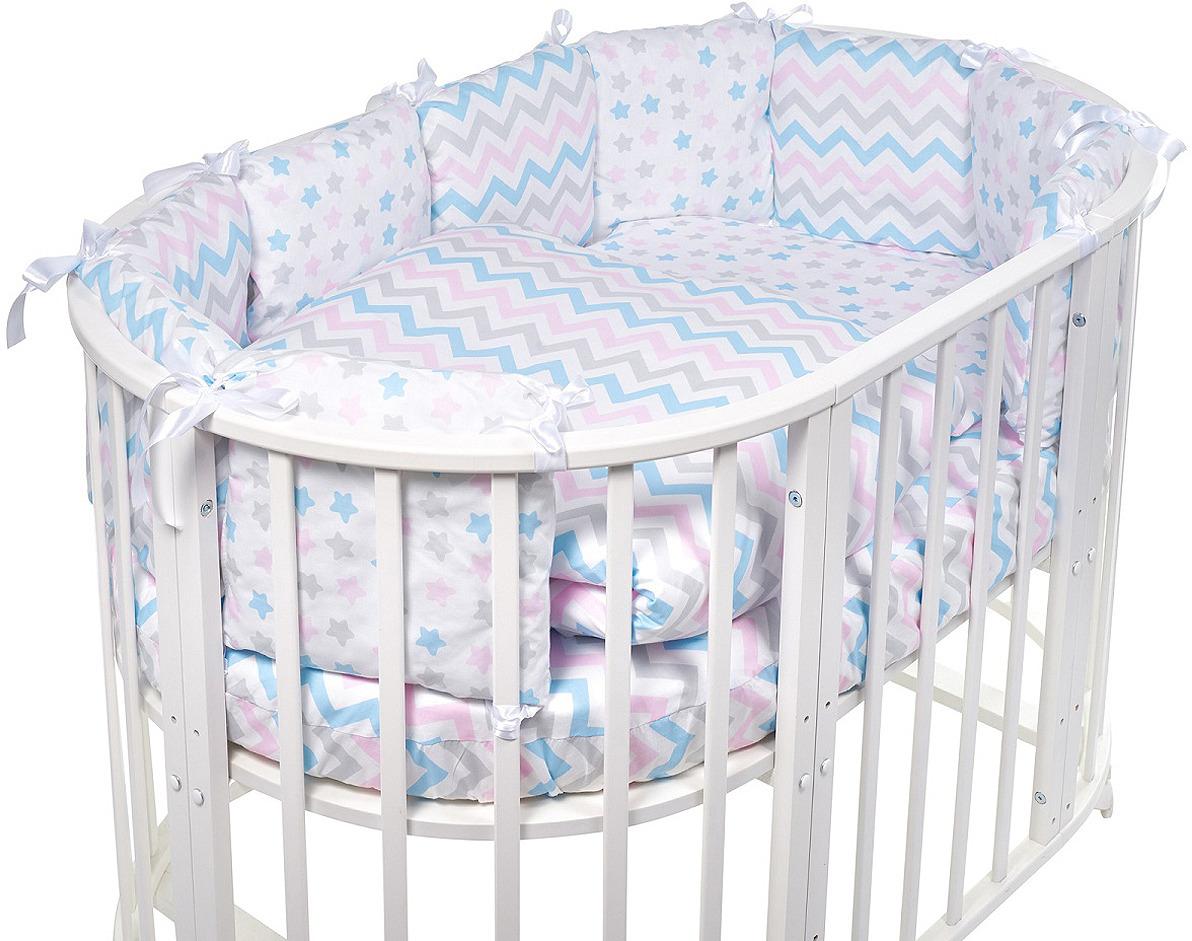 Комплект в овальную кроватку Sweet Baby Lunedi, 419238, белый, 5 предметов комплекты в кроватку makkaroni kids sweet baby 125x65 6 предметов