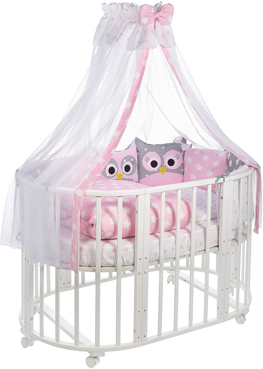 Комплект в кроватку Sweet Baby Uccellino Rosa, 420968, розовый, 10 предметов матрас в кроватку sweet baby favorite plus 119х59х12