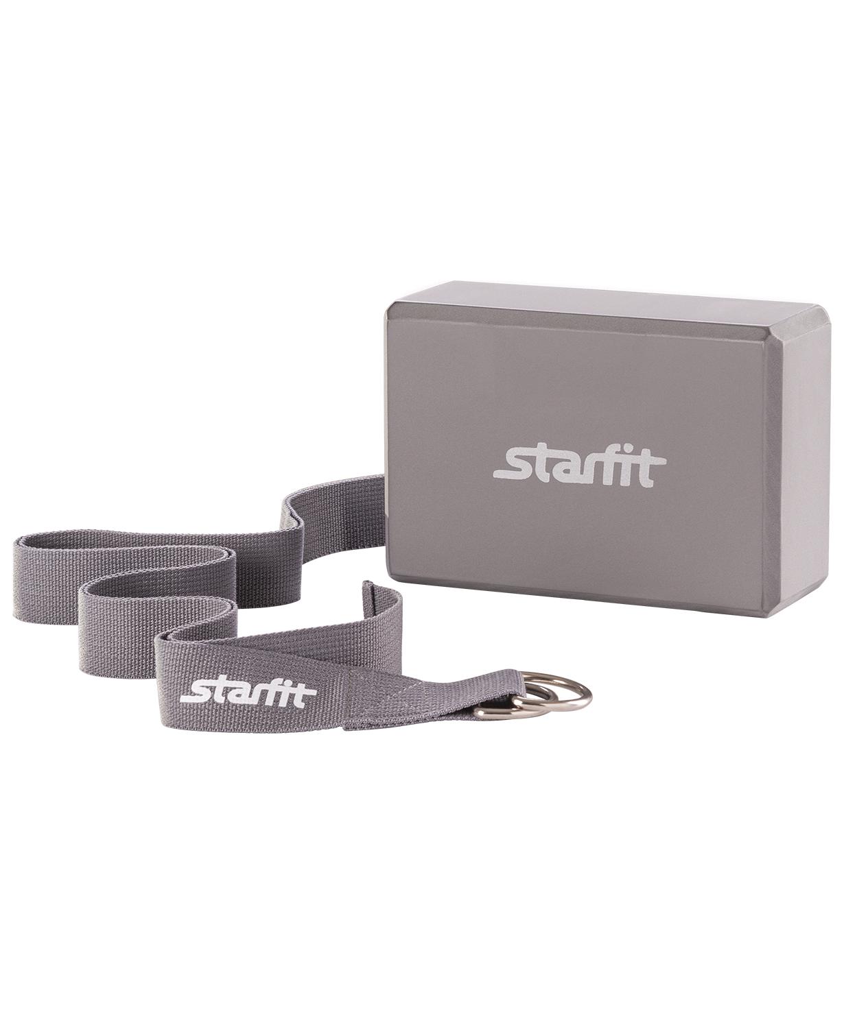Набор для йоги STARFIT FA-104, серый ролик для йоги и пилатеса starfit fa 506 цвет зеленый 15 х 15 х 90 см