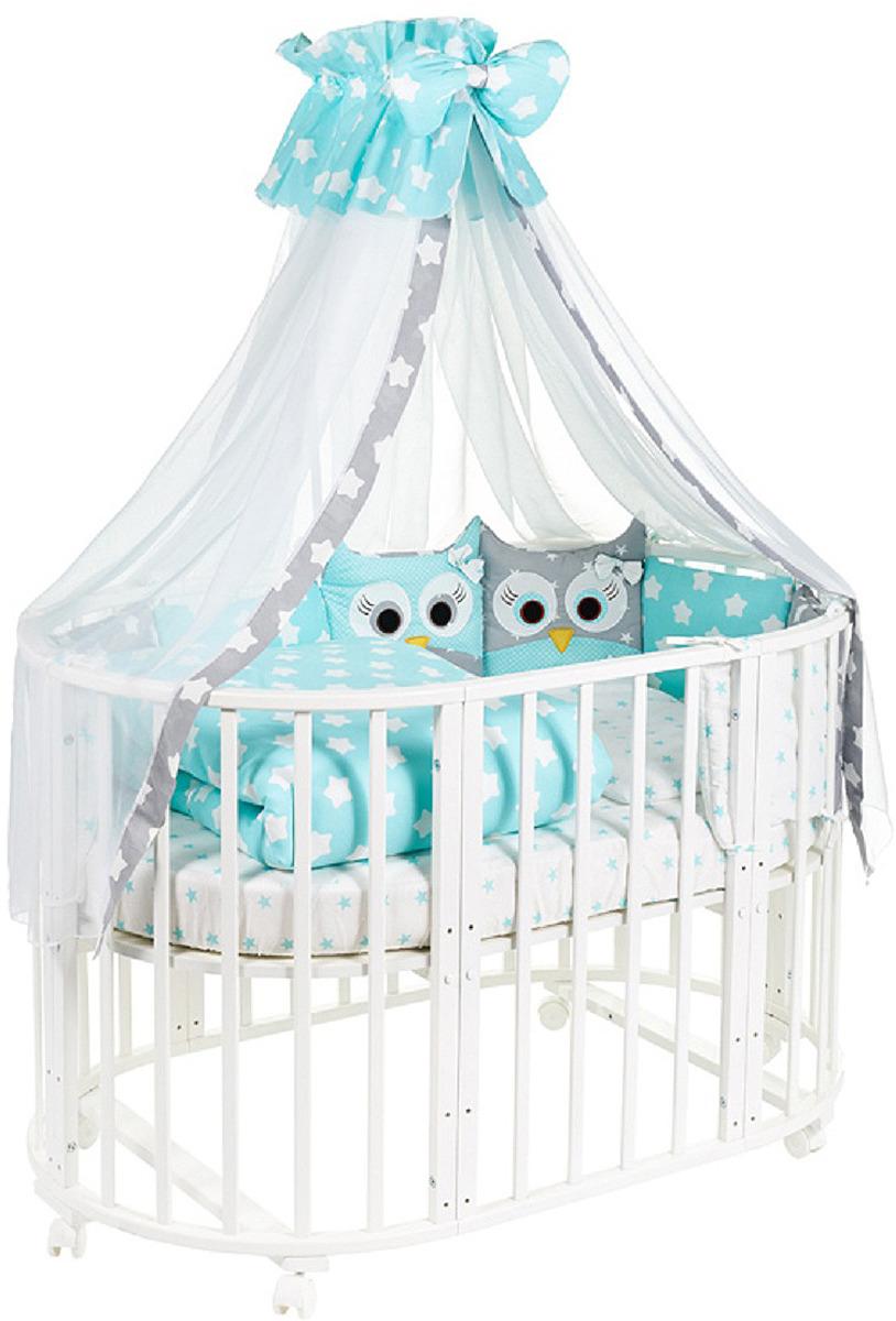 Комплект в кроватку Sweet Baby Uccellino Turchese, 420985, бирюзовый, 10 предметов