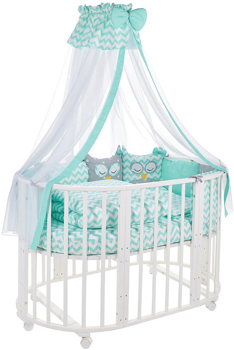 Комплект в кроватку Sweet Baby Civetta Verde, 421011, бирюзовый, 10 предметов