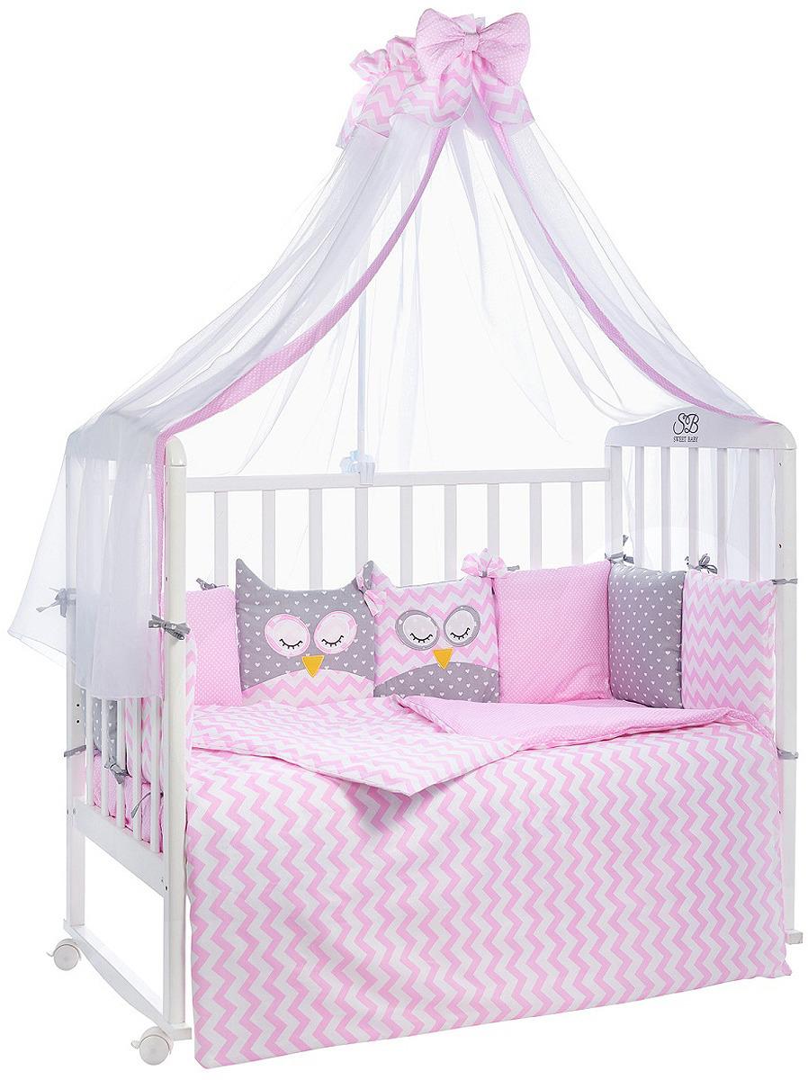 Комплект в кроватку Sweet Baby Civetta Rosa, 421015, розовый, 7 предметов матрас в кроватку sweet baby favorite plus 119х59х12