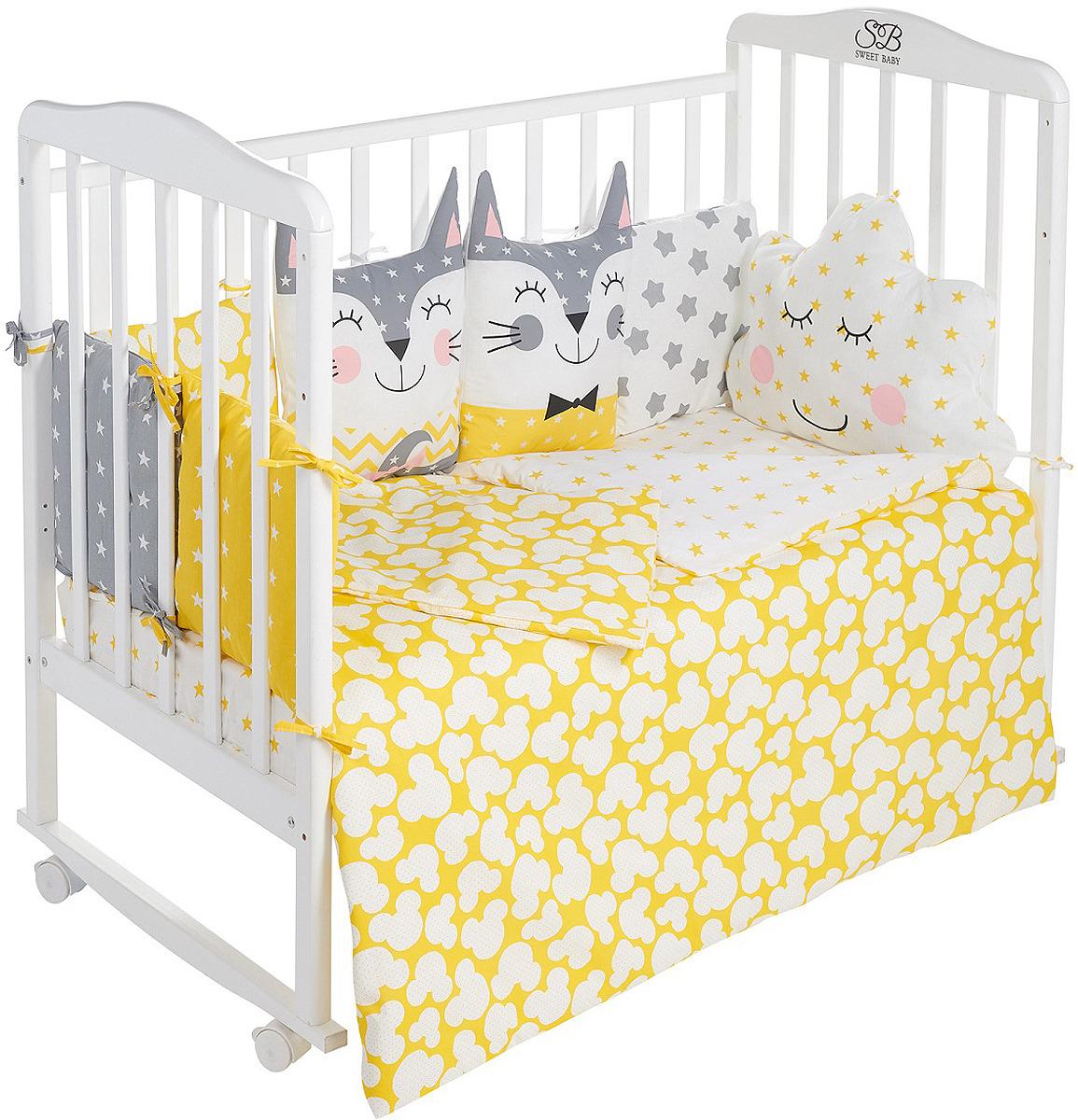 Комплект в кроватку Sweet Baby Gioia Giallo, 423283, желтый, 4 предмета цена