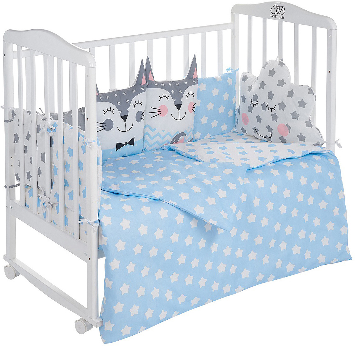 цена Комплект в кроватку Sweet Baby Gioia Blu, 423284, голубой, 4 предмета онлайн в 2017 году