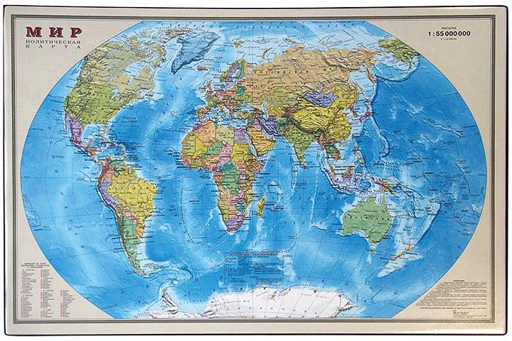 Настольное покрытие OfficeSpace Карта мира, 194915, разноцветный, 38 х 59 см дпс настольное покрытие с картой россии 38 х 59 см
