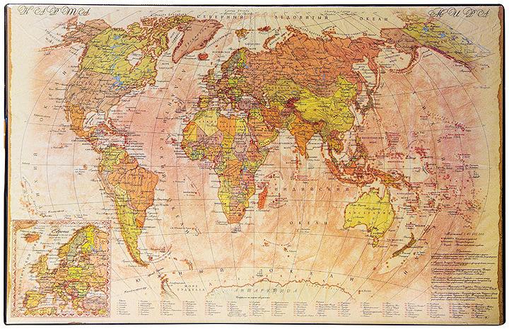 Настольное покрытие OfficeSpace Карта ретро, 194916, разноцветный, 38 х 59 см дпс настольное покрытие с картой россии 38 х 59 см