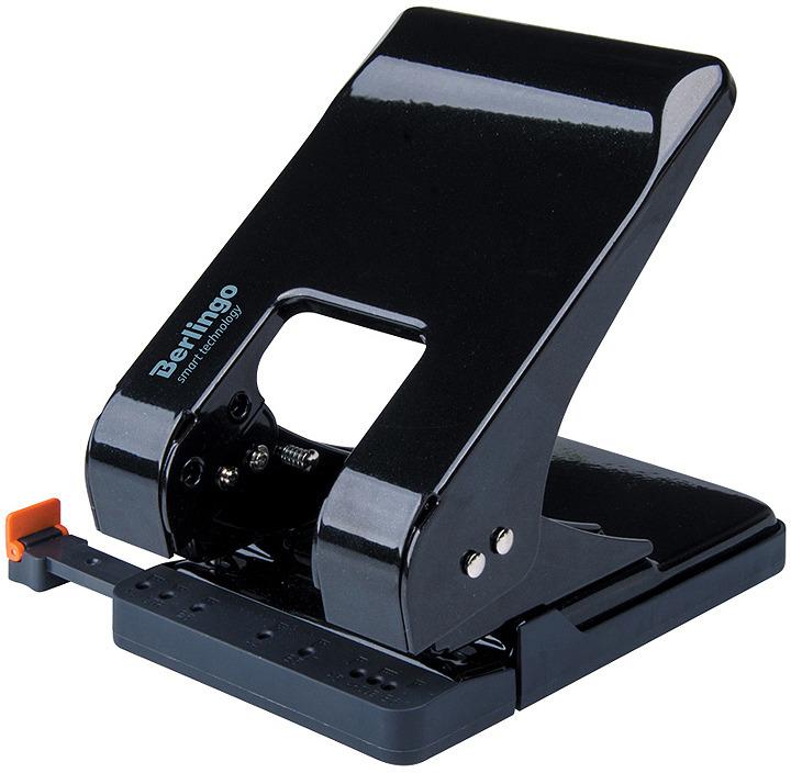 Дырокол Berlingo Smart Technology, с линейкой и фиксатором, DDm_45301, черный, на 45 листов