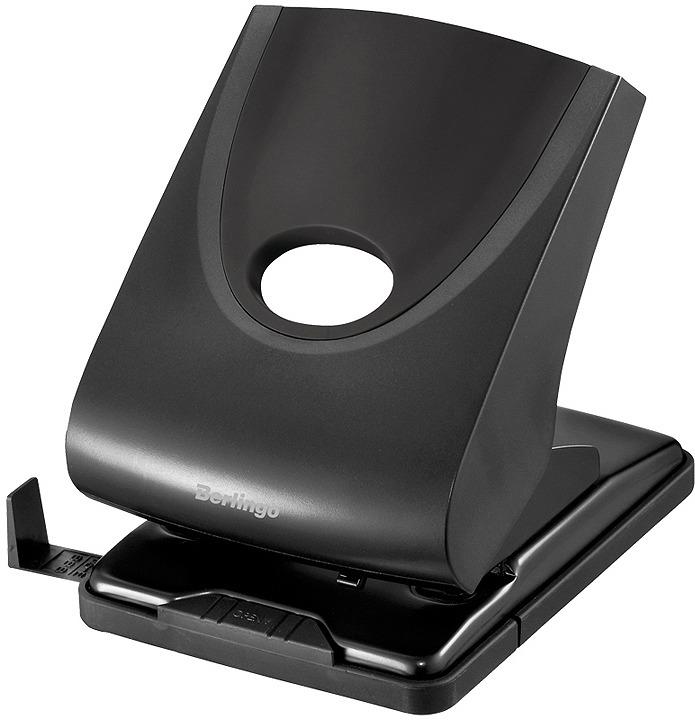 Дырокол Berlingo Office Soft, с линейкой и фиксатором, DDp_40161, черный, на 40 листов