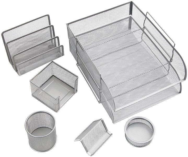 Органайзер настольный Berlingo Steel&Style, BMs_41701, серебристый, 7 предметов
