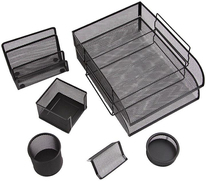 Органайзер настольный Berlingo Steel&Style, BMs_41702, черный, 7 предметов
