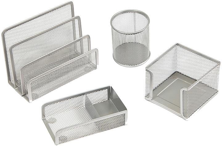 Органайзер настольный Berlingo Steel&Style, BMs_41401, серебристый, 4 предмета