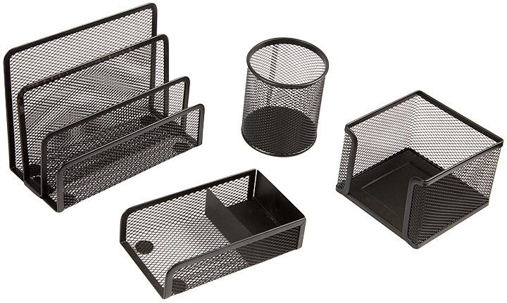 Органайзер настольный Berlingo Steel&Style, BMs_41402, черный, 4 предмета