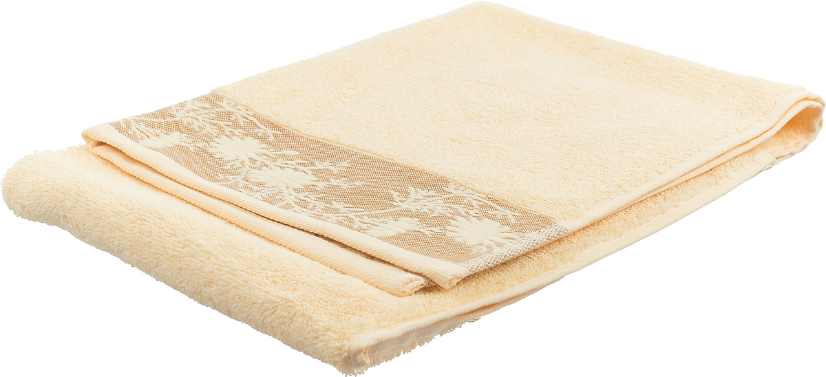 Полотенце Estia Флорал, цвет: светло-желтый, 50 x 100 см полотенце флорал estia
